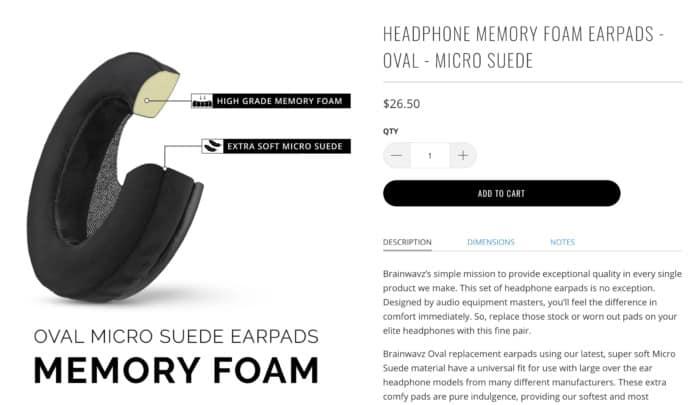 brainwavz audio micro suede earpad