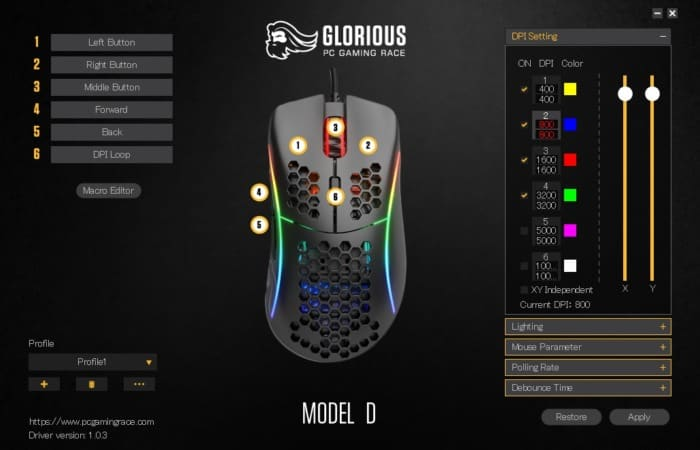 glorious model d software