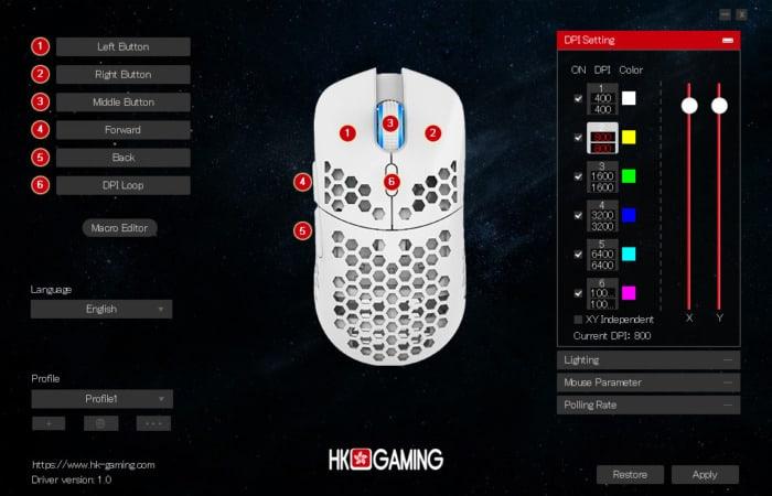 HK Gaming MIRA-S 設定ソフト