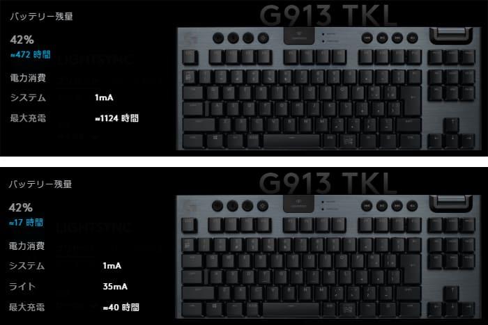 G913TKL LEDを点灯させると電池持ちが著しく悪化する